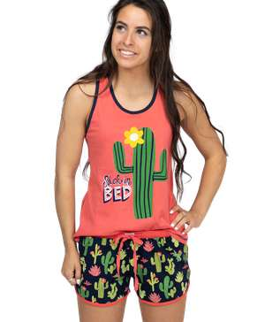 Stuck in Bed Women's Cactus Tank & Short Set