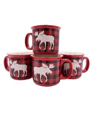 Moose Plaid Ceramic Mug 4 Pack