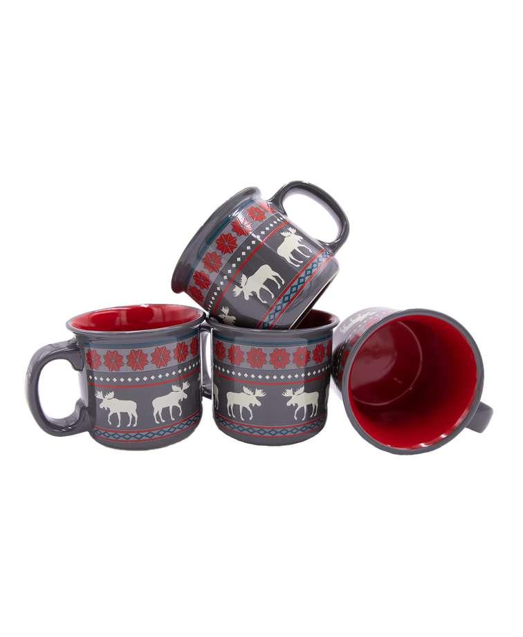 Moose Fair Isle Ceramic Mug 4 Pack