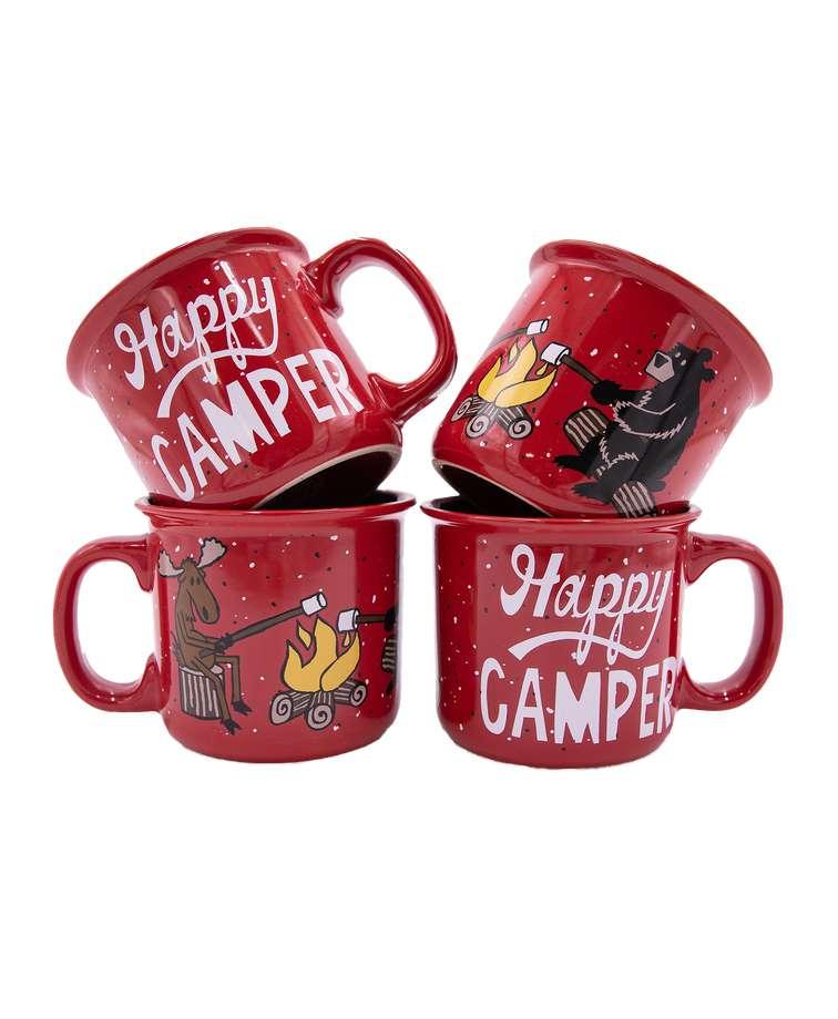 Happy Camper Ceramic Mug 4 Pack