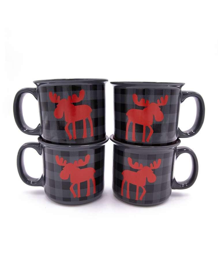 Moose Plaid Grey Ceramic Mug 4 Pack
