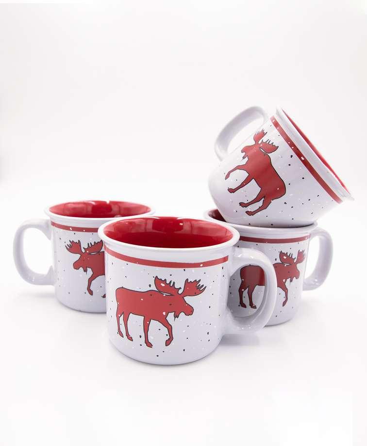 Cabin Moose Ceramic Mug 4 Pack
