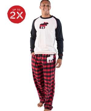 Moose Plaid Men's Long Sleeve PJ Set