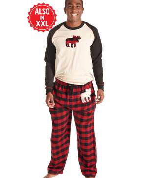 Moose Plaid Men's Long Sleeve PJ Set