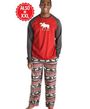 Moose Fair Isle Men's Long Sleeve PJ Set