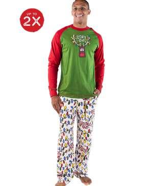 Lights Out Men's Reindeer Long Sleeve PJ Set