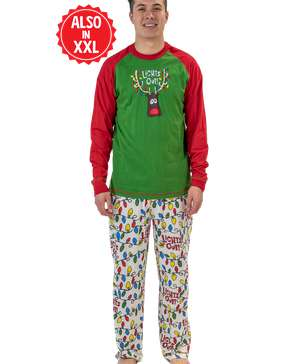 Lights Out Men's Reindeer Long Sleeve PJ Set