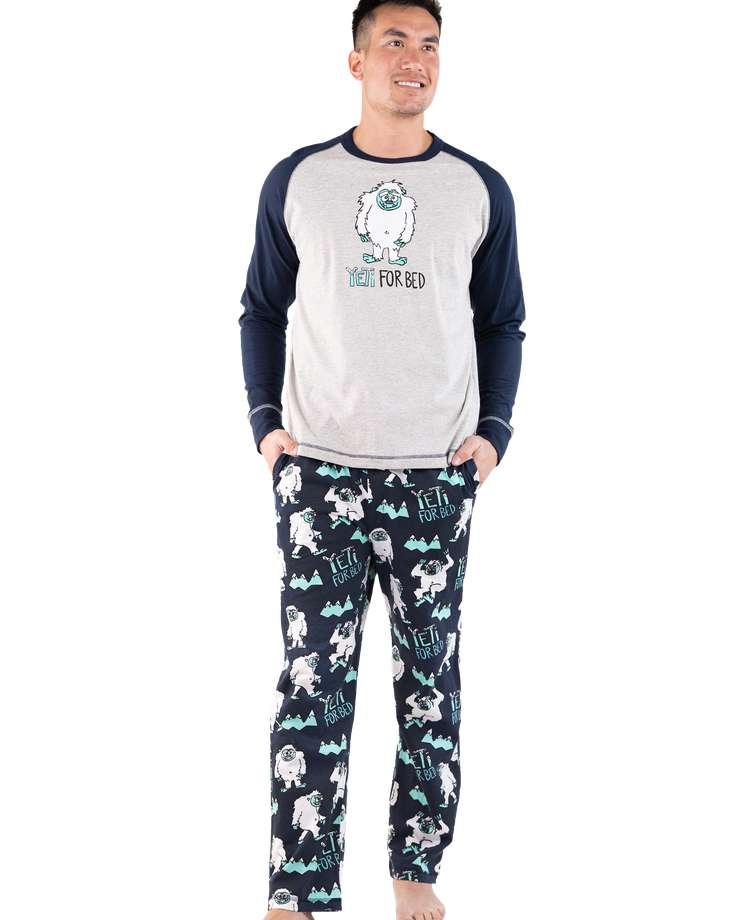Yeti For Bed Men's Long Sleeve Pajama Set