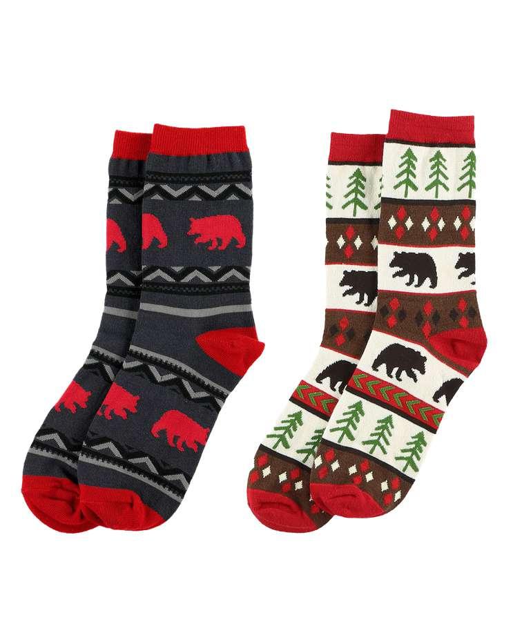 Bear Fair Isle Sock 2 Pack