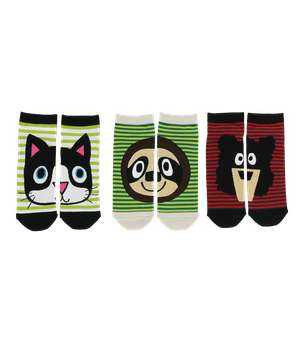 Animal Faces Sock 3 Pack