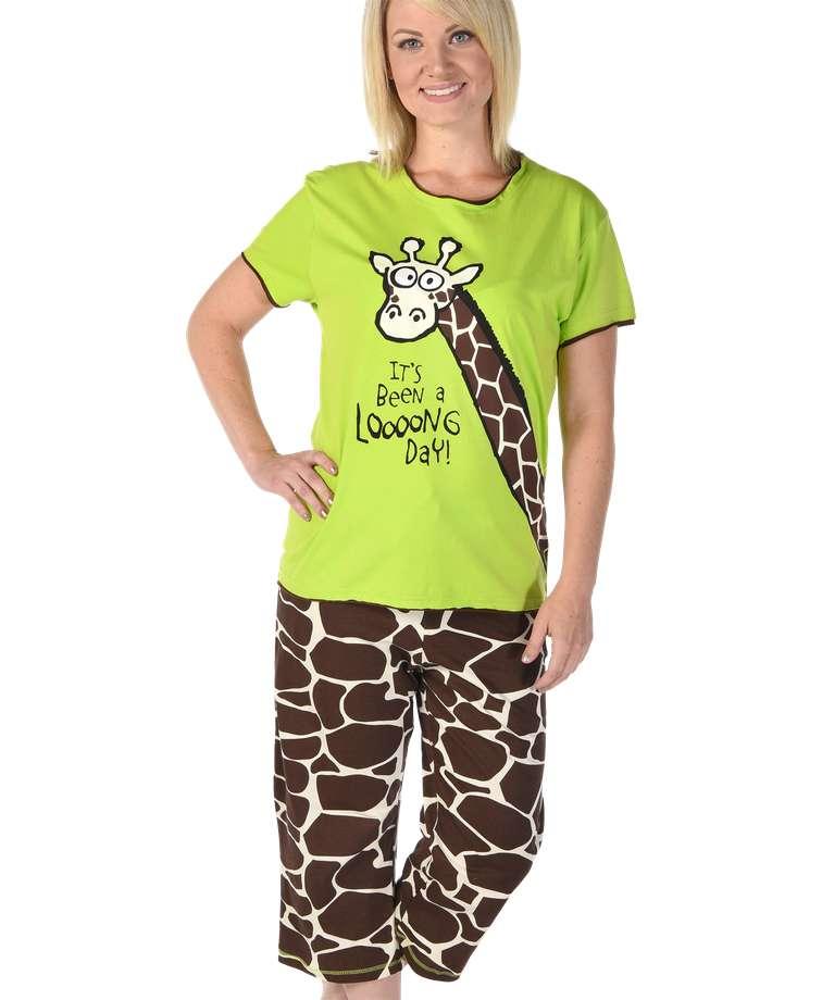 Loooong Day Women's Giraffe Capri PJ Set