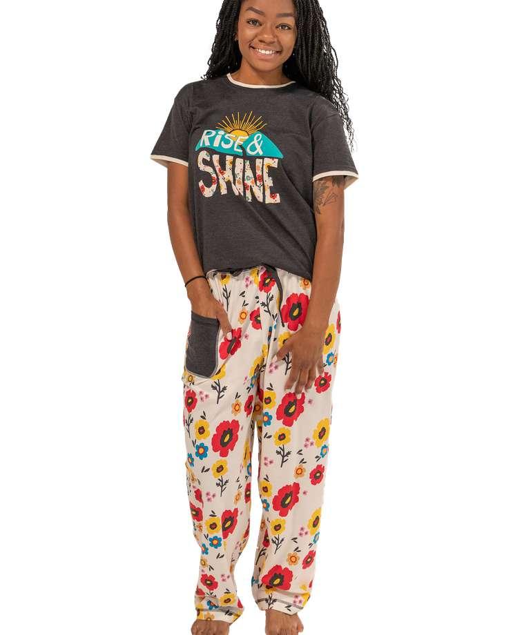 Rise & Shine Women's Regular Fit Flower PJ Set