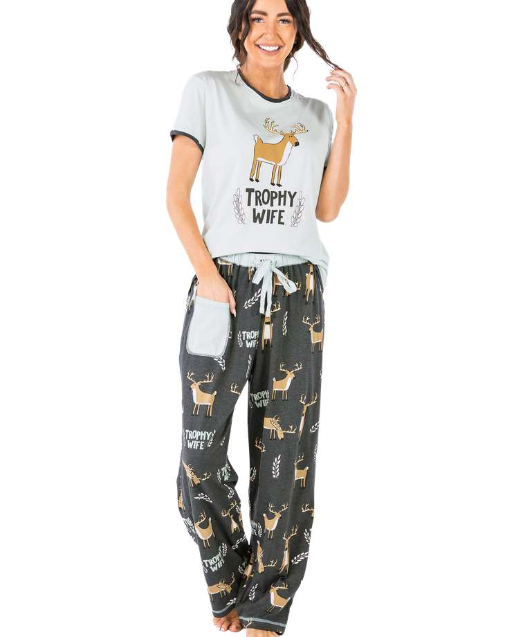 Trophy Wife Women's Regular Fit Deer PJ Set