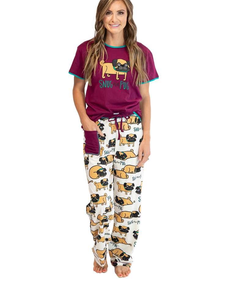 Snug As A Pug Women's Regular Fit PJ Set