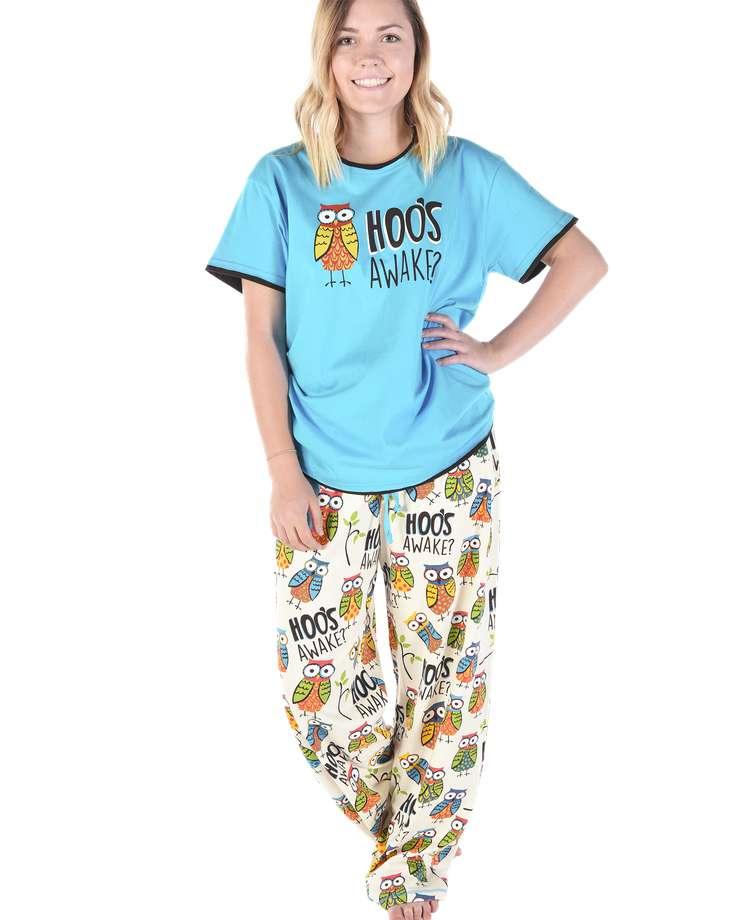 Hoo's Awake Women's Regular Fit Owl PJ Set