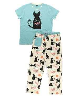Cat Nap Blue Women's Regular Fit PJ Set