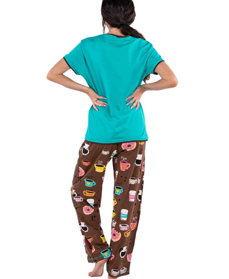 Latte Sleep Women's Regular Fit Coffee PJ Set