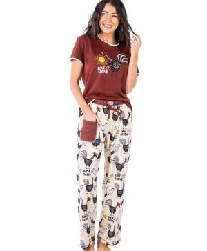 Rise & Shine Women's Regular Fit Chicken PJ Set
