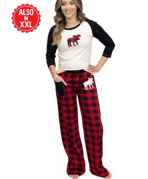 Moose Plaid Women's Fitted PJ Set