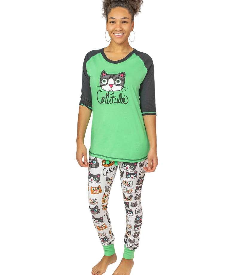 Cattitude Women's Cat Legging Set