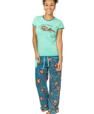Otterly Exhausted Women's Fitted PJ Set