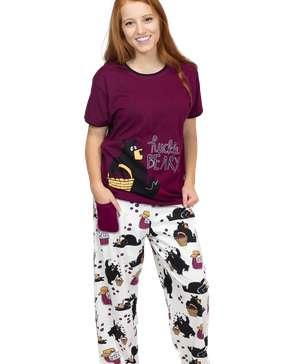 Hucklebeary Women's Regular Fit Bear PJ Set