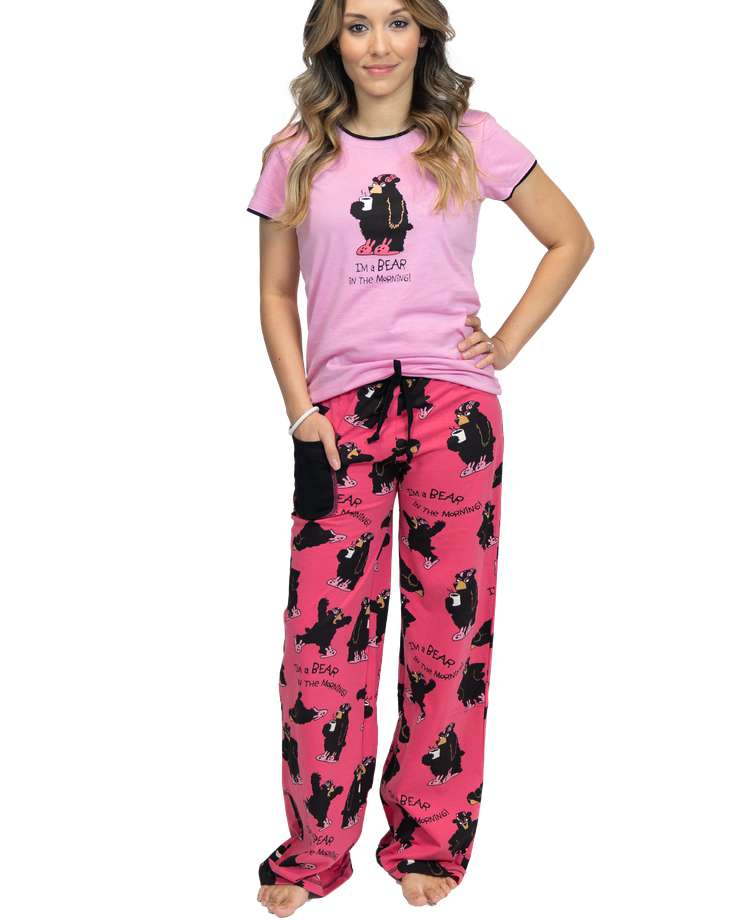 I'm a Bear in the Morning Women's Fitted Pj Set