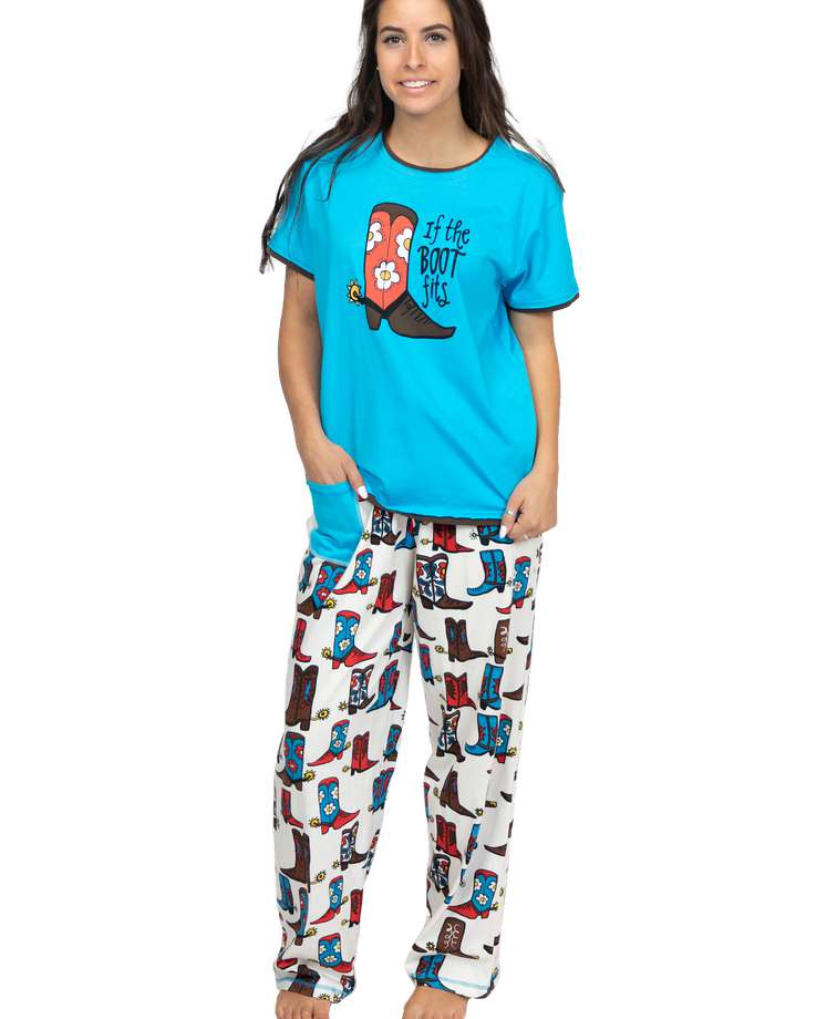 If The Boot Fits Women's Regular Fit Cowgirl PJ Set