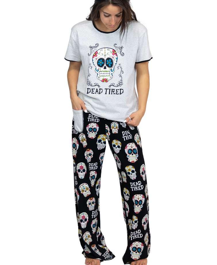 Dead Tired Women's Skull Regular Fit PJ Set
