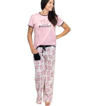 Hogs & Kisses Women's Pig Regular Fit PJ Set