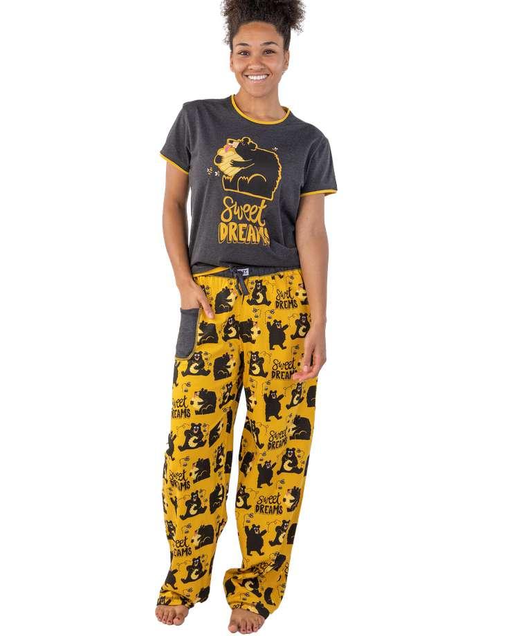 Sweet Dreams Women's Regular Fit Bear PJ Set
