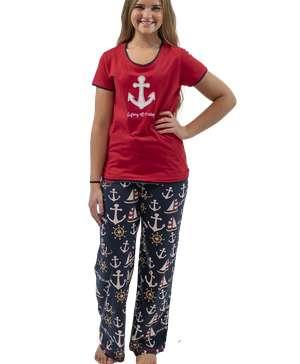 Drifting Off To Sleep Women's Nautical Fitted PJ Set