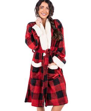 Moose Plaid Women's Bathrobe