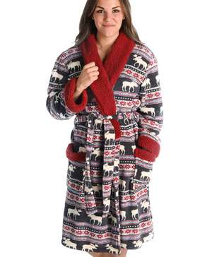 Moose Fair Isle Women's Bathrobe