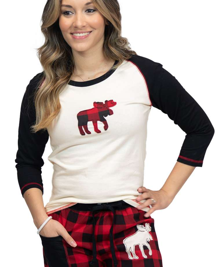 Moose Plaid Women's Fitted Tee