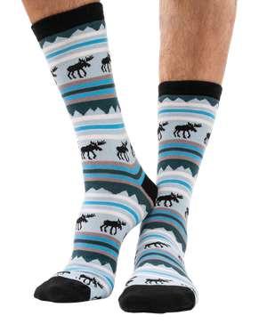 Winter Moose Crew Sock