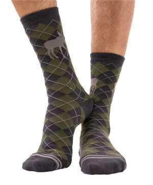 Green Argyle Moose Crew Sock