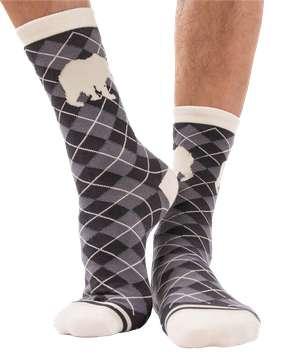 Grey Argyle Bear Crew Sock