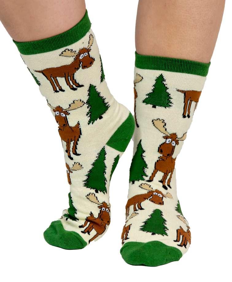 Moose Hug Green Crew Sock