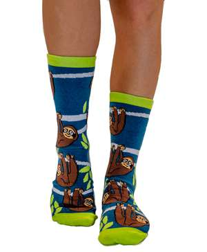 Hang in There Sloth Crew Sock