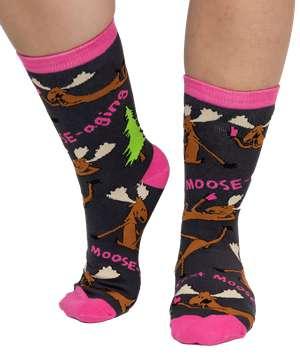 Text Moose-aging Crew Sock