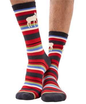 Moose Stripe Crew Sock