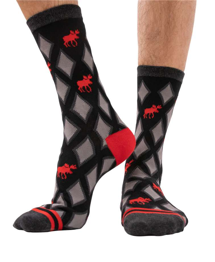 Red Argyle Moose Crew Sock