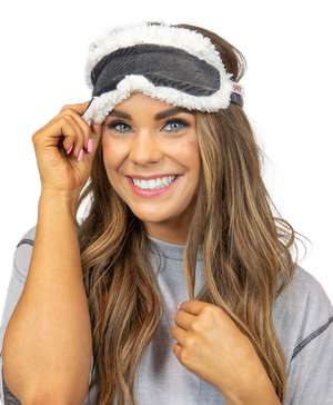 Grey Plaid Sherpa Sleep Mask