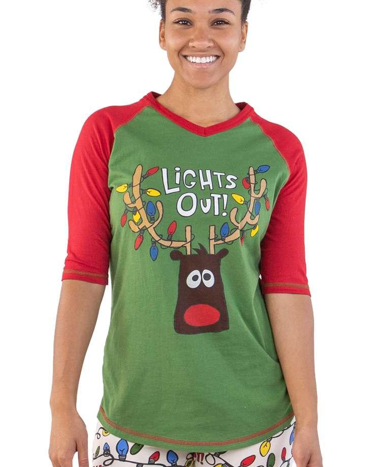 Lights Out! Women's Reindeer Tall Tee