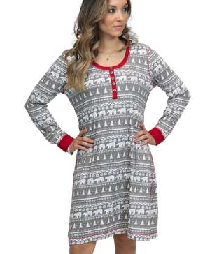 Nordic Bear Scoop Neck Nightshirt