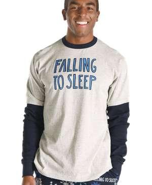Falling to Sleep Men's Snowflake Thermal Long SleeveTee