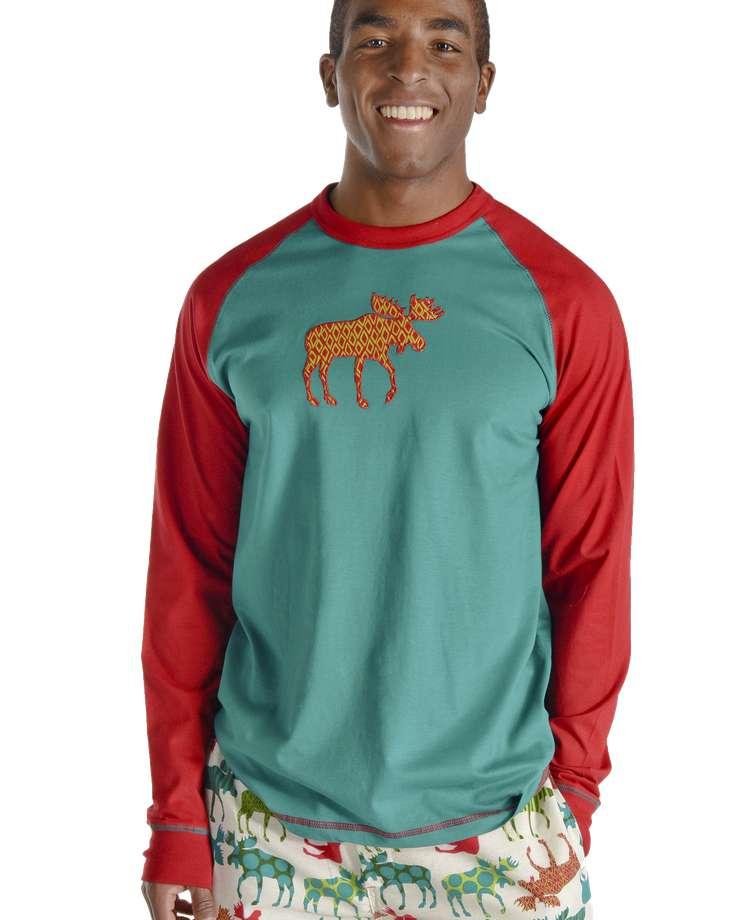 Pattern Moose Men's Long Sleeve PJ Tee