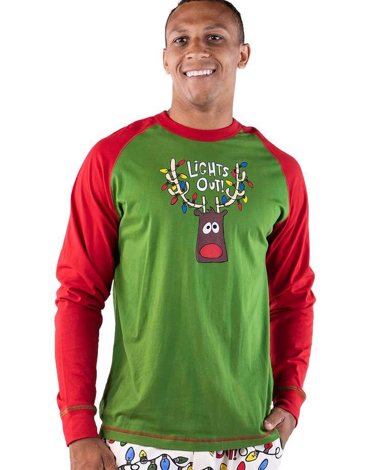 Lights Out Men's Reindeer Long Sleeve PJ Tee