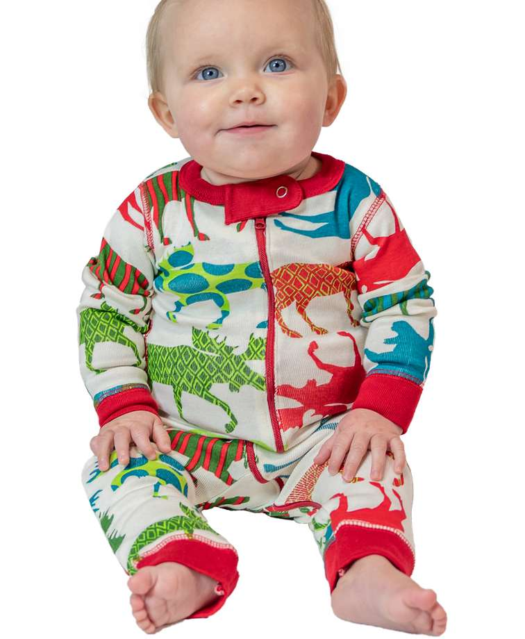 Pattern Moose Infant Union Suit